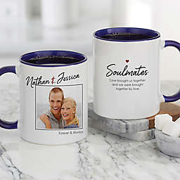 Soulmates Personalized Romantic Photo 11 oz. Coffee Mug in Blue