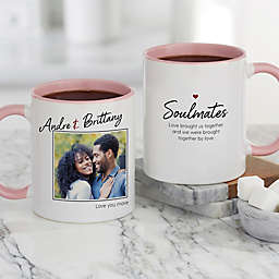 Soulmates Personalized Romantic Photo 11 oz. Coffee Mug in Pink