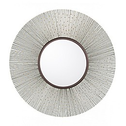 Southern Enterprises© Romu 32.25-Inch Round Wall Mirror in Gunmetal Gray/Bright Brass