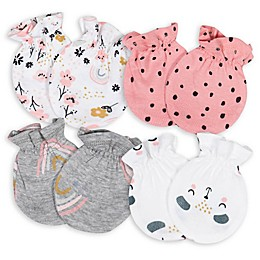 Gerber® Size 0-3M 4-Pack Bear Mittens in Pink/White