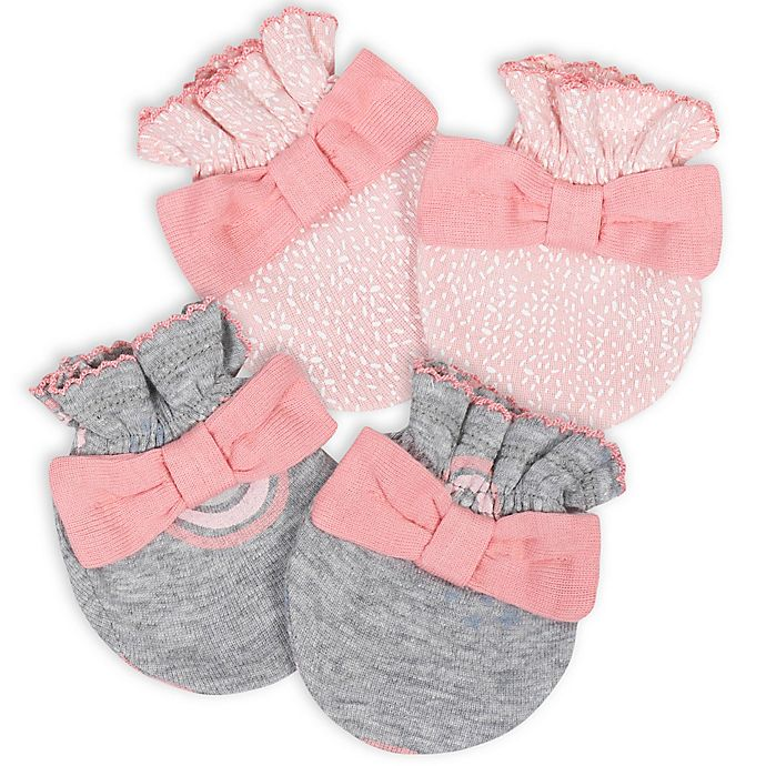 Alternate image 1 for Gerber® Size 0-3M 2-Pack Rainbow Bear Mittens in Pink/Grey