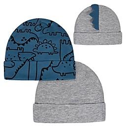 Gerber® Newborn 2-Pack Dino Hats in Blue/Grey