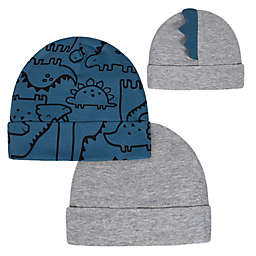 Gerber® Newborn 2-Pack Dino Hats in Blue/Grey