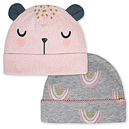 Gerber® Newborn 2-Pack Bear Hats in Pink/Grey