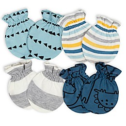 Gerber® Size 0-3M 4-Pack Dino Mittens in Blue/Grey