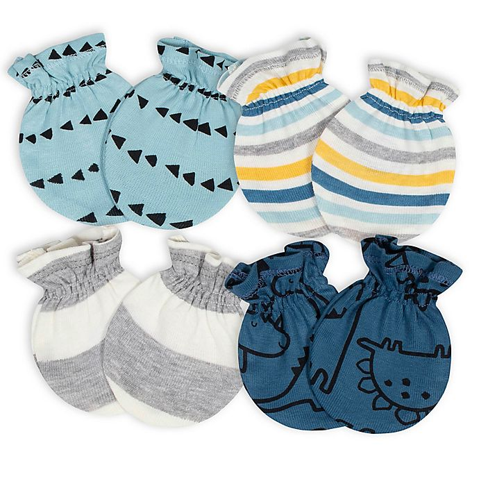 Alternate image 1 for Gerber® Size 0-3M 4-Pack Dino Mittens in Blue/Grey