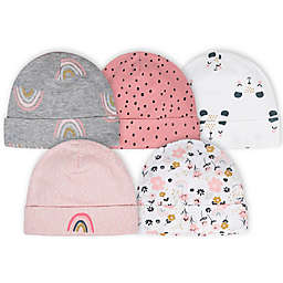 Gerber® Newborn 5-Pack Bear Hats in Pink/White