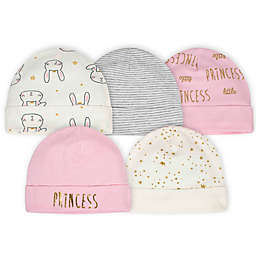 Gerber® Newborn 5-Pack Princess Bunny Hats in Pink/White