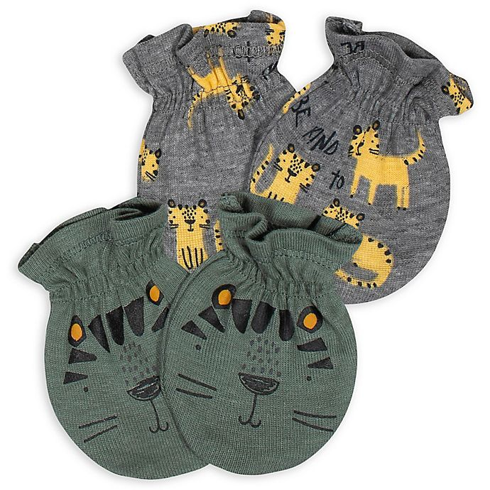Alternate image 1 for Gerber® Size 0-3M 2-Pack Camo Tiger Mittens in Green/Grey