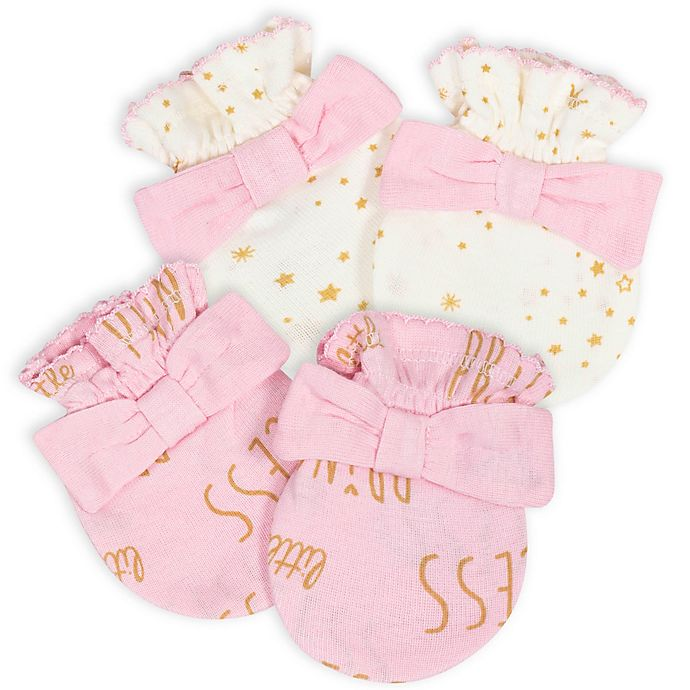 Alternate image 1 for Gerber® Size 0-3M 2-Pack Princess Mittens in Pink/White