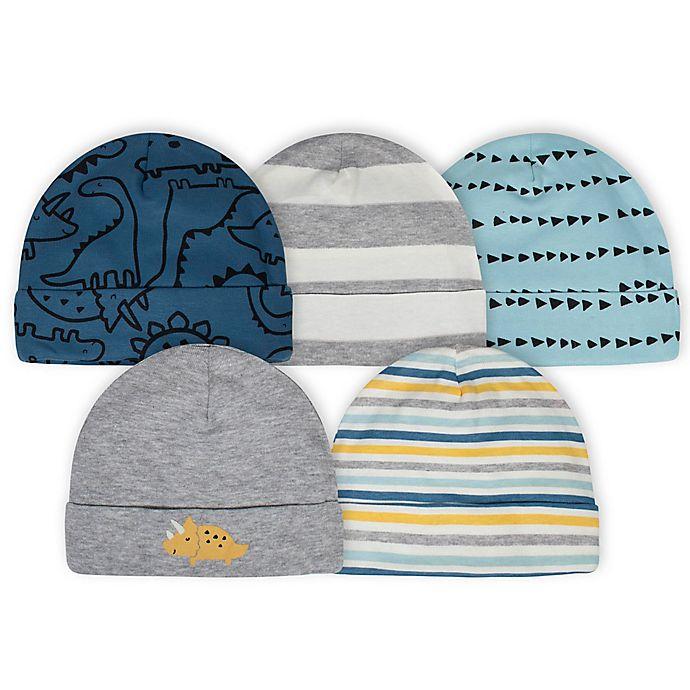 Alternate image 1 for Gerber® Newborn 5-Pack Dinosaurs Hats in Blue/Grey