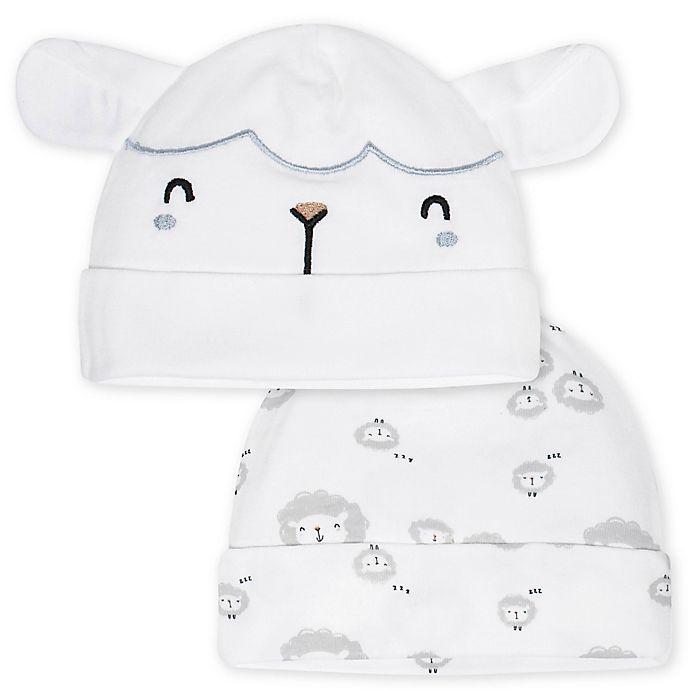 Alternate image 1 for Gerber® Newborn 2-Pack Sheep Hats in White/Grey