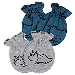 Gerber® Size 0-3M 2-Pack Dinosaurs No-Scratch Mittens in Blue/Grey