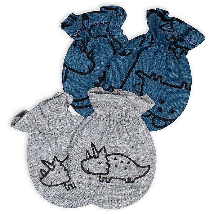 Alternate image 1 for Gerber® Size 0-3M 2-Pack Dinosaurs No-Scratch Mittens in Blue/Grey