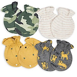 Gerber® Size 0-3M 4-Pack Camo Tiger No-Scratch Mittens in Green