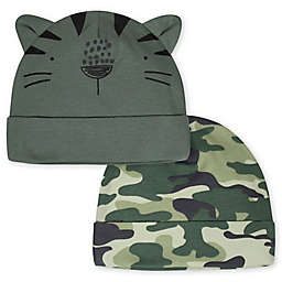 Gerber® Newborn 2-Pack Camo Tiger Hats in Green