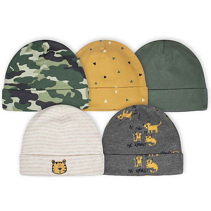 Alternate image 1 for Gerber® Size 0-6M 5-Pack Camo Tiger Hats in Green