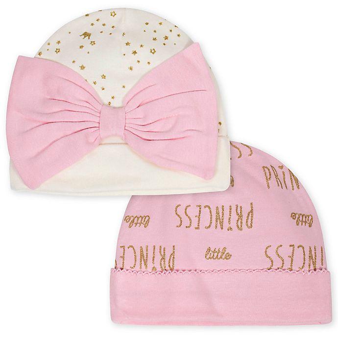 Alternate image 1 for Gerber® Newborn 2-Pack Princess Hats in Pink/Ivory