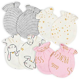 Gerber® Size 0-3M 4-Pack Princess No-Scratch Mittens in Pink/Ivory