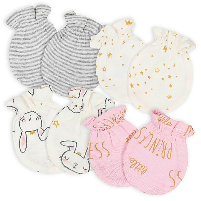 Alternate image 1 for Gerber® Size 0-3M 4-Pack Princess No-Scratch Mittens in Pink/Ivory