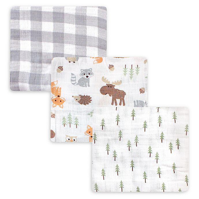 Alternate image 1 for Hudson Baby® 3-Pack Woodland Muslin Swaddle Blankets