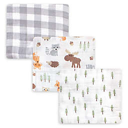 Hudson Baby® 3-Pack Woodland Muslin Swaddle Blankets