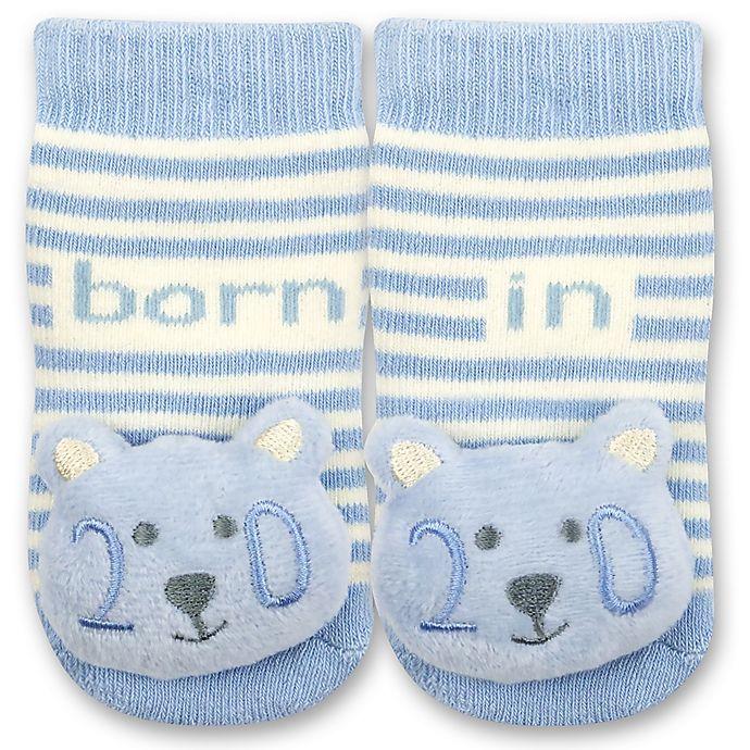 Alternate image 1 for IQ Kids Size 0-6M 2020 Bear Rattle Socks in Blue