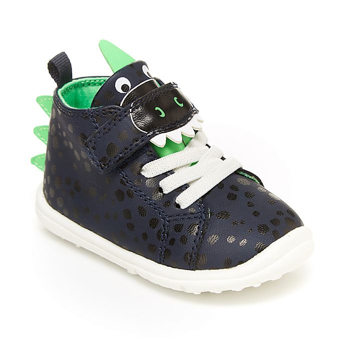 Alternate image 1 for carter's® Frodie Dinosaur High-Top Sneaker in Navy/Green