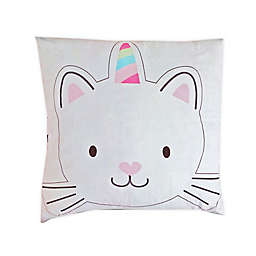 Bon Jour Paris Caticorn Square Throw Pillow in Pink/Multi