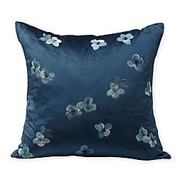 MM Linen Hydrangea Petite Embroidered Floral Square Throw Pillow in Blue