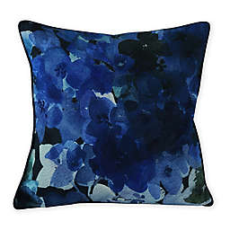 MM Linen Hydrangea Nantucket Floral Square Throw Pillow in Blue