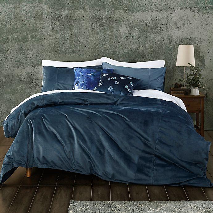Alternate image 1 for MM Linens Velvet Indigo 3-Piece Duvet Cover Set