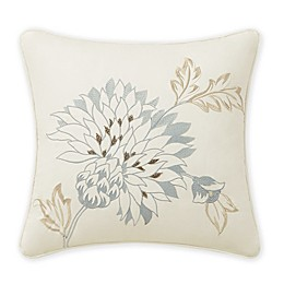 Rose Tree Jolene Floral Embroidered Square Throw Pillow in Ivory