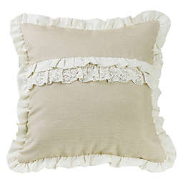 HiEnd Accents Charlotte Coastal Square Throw Pillow in Cream
