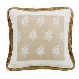 HiEnd Accents Newport Leaf Square Throw Pillow in Cream