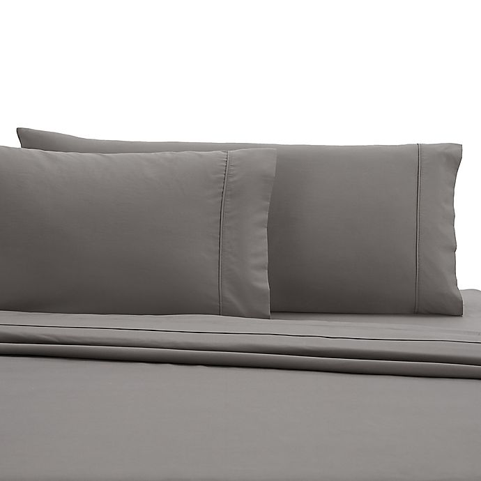 Alternate image 1 for Wamsutta® 350-Thread-Count Egyptian Cotton Twin XL Sheet Set in Grey