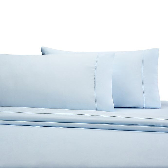 Alternate image 1 for Wamsutta® 350-Thread-Count Egyptian Cotton Twin XL Sheet Set in Light Blue