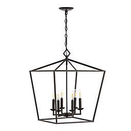 Safavieh Vesla 6-Light Adjustable Pendant in Black with LED Bulbs