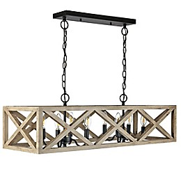 Safavieh Quentin 8-Light Adjustable Pendant in Black with LED Bulbs