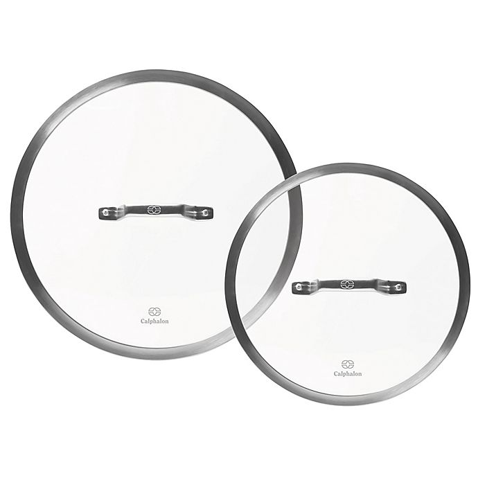 Alternate image 1 for Calphalon® Premier™ Hard-Anodized Nonstick 2-Piece Glass Lid Set