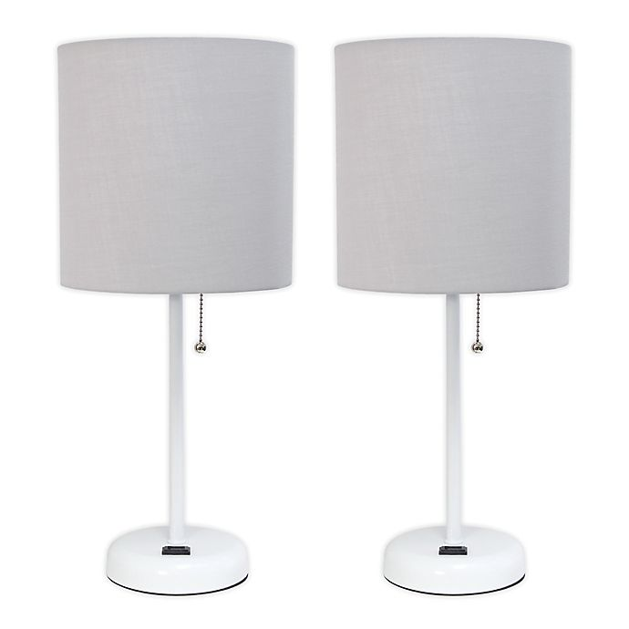 Alternate image 1 for LimeLights Stick Lamps in White with Charging Outlet and Fabric Shades (Set of 2)