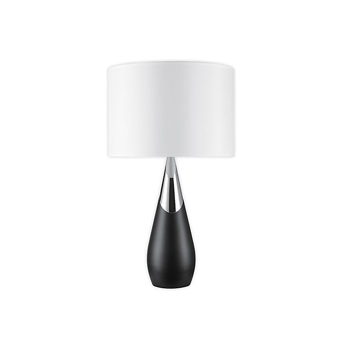 Alternate image 1 for Globe Electric Lexell Table Lamp in Matte Black and Chrome with White Fabric Shade