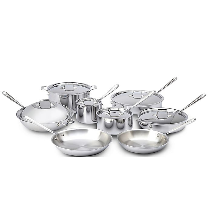 Alternate image 1 for All-Clad Stainless Steel 14-Piece Cookware Set