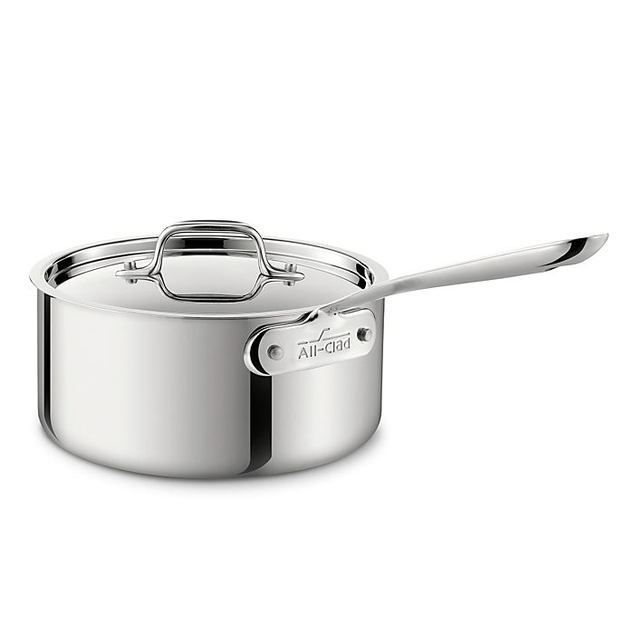 Alternate image 1 for All-Clad Stainless Steel 3.5 qt. Covered Saucepan