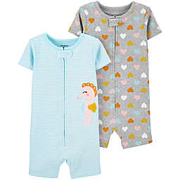 carter's® 2-Pack Seahorse Toddler Romper Pajamas in Light Blue/Grey