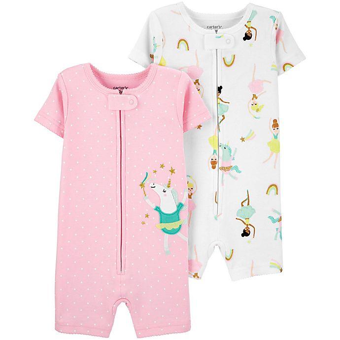 Alternate image 1 for carter's® 2-Pack Ballerina Toddler Romper Pajamas in Pink/White