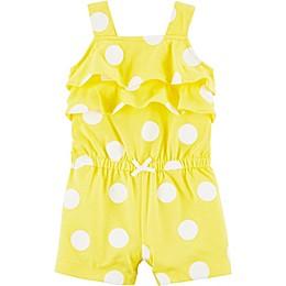 carter's® Polka Dot Ruffle Bubble Romper in Yellow