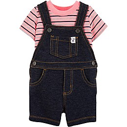 carter's® 2-Piece Striped Bodysuit and Shortall Set in Denim