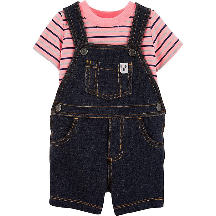 Alternate image 1 for carter's® 2-Piece Striped Bodysuit and Shortall Set in Denim