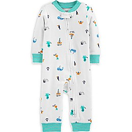 carter's® Beach 2-Way Zip Sleep and Play Pajama in White/Teal
